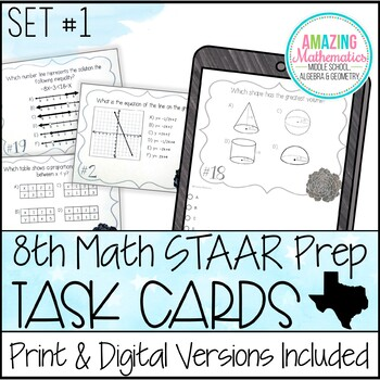 8th Grade Math STAAR Review & Prep - Task Cards (Set #1) by Amazing ...