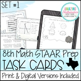 8th Grade Math STAAR Review & Prep - Task Cards (Set #1)