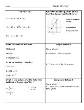 8th Grade Math STAAR Review