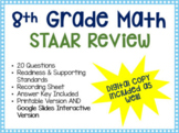 8th Grade Math STAAR Review Activity: Google Doc Version INCLUDED!