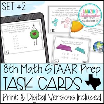 8th Grade Math STAAR Review & Prep - Task Cards (Set #2)