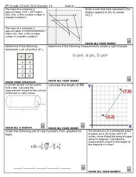 8th Grade Math STAAR Skill Review 13 and 14 2018-2019 Edition