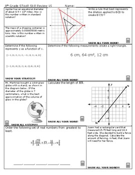 8th Grade Math STAAR Skill Review 15 and 16 2018-2019 Edition
