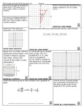 8th Grade Math STAAR Skill Review 17 and 18 2018-2019 Edition