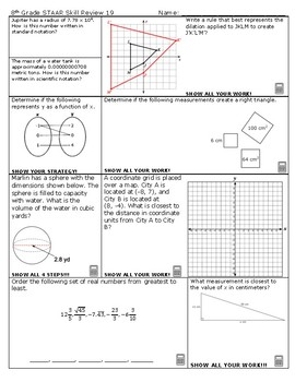 8th Grade Math STAAR Skill Review 19 and 20 2018-2019 Edition