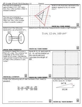 8th Grade Math STAAR Skill Review 11 and 12 2018-2019 Edition