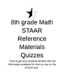 8th Grade Math STAAR reference chart quizzes