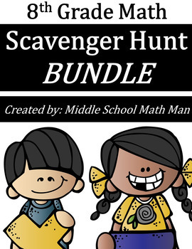 8th Grade Math Scavenger Hunt Bundle