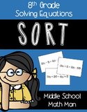 8th Grade Math Solving Two Step Equations and Multi Step Equations Sort