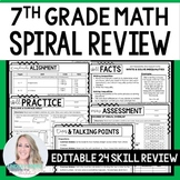 7th Grade Math Spiral Review - Great for Distance Learning