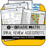 8th Grade Math Spiral Review Assessments for Common Core w/ Standards Checklist