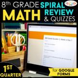 8th Grade Math Spiral Review  | Google Classroom Distance