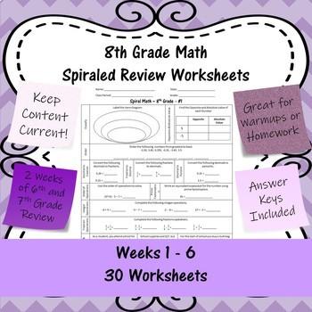 8th Grade Math Spiraled Review Worksheets - #1 - #30 - Weeks 1 - 6