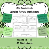 8th Grade Math Spiraled Review Worksheets - #61 - #90 - Weeks 13 - 18