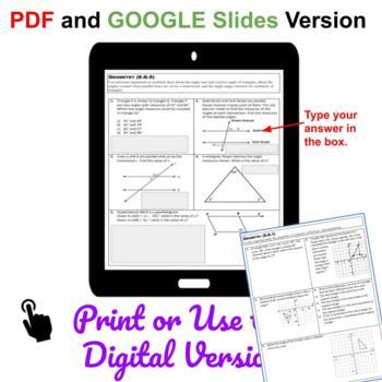 8th Grade Math Standards Based Assessments Bundle Common