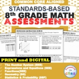 8th Grade Math Standard Based Assessments BUNDLE Common Core ⭐ Distance Learning