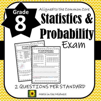 8th Grade Math Statistics & Probability Assessment/Exam/Test/Review {EDITABLE}