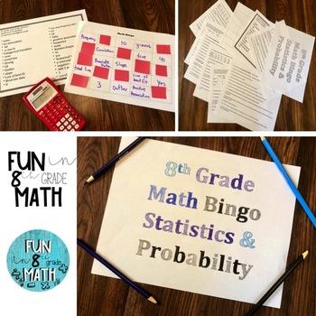 8th Grade Math Statistics & Probability Review Bingo
