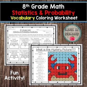 8th Grade Math Statistics & Probability Vocabulary Coloring Worksheet