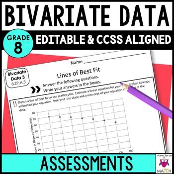 Statistics and Probability Mini Assessments 8th Grade Math Common Core