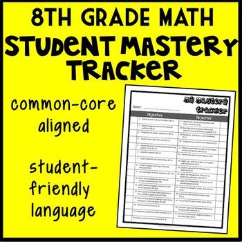 8th Grade Math Student Mastery Tracker, Common Core Aligned Self-Tracker