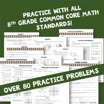 8th Grade Math Review Test Prep ALL Standards