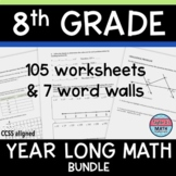 8th Grade Math Review Worksheets / Guided Notes / Homework