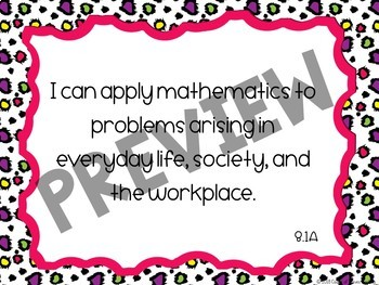 8th Grade Math TEKS I Can Statement Posters