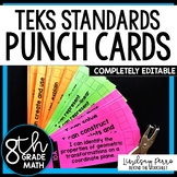 8th Grade Math TEKS I Can Statement Punch Cards