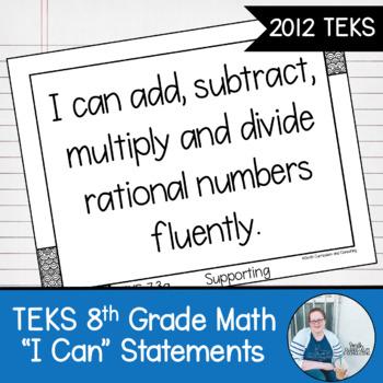 "Eighth Grade Math TEKS ""I Can"" Statements"