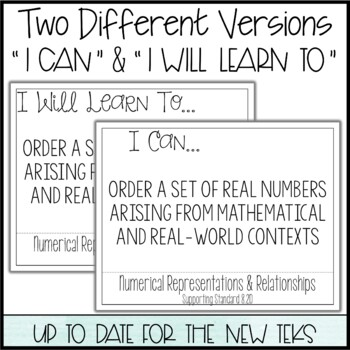 """8th Grade Math TEKS  - """"I Can"""" Statements / """"I Will Learn To"""" Posters"""