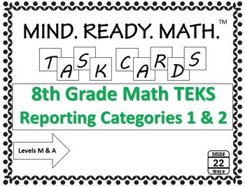 8th Grade Math TEKS 72 Task Cards {Reporting Categories 1 and 2}