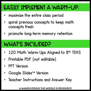 8th Grade Math Warm Ups - TEKS