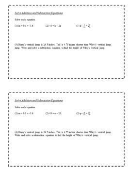 8th Grade Math Task Cards - Equations and Inequalities