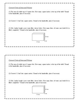 8th Grade Math Task Cards - Units of Measure