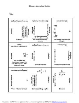 8th Grade Math Terms