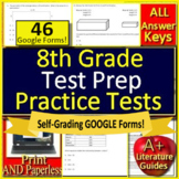 8th Grade Math Test Prep Practice Tests Spiral Review CCSS Smarter Balanced