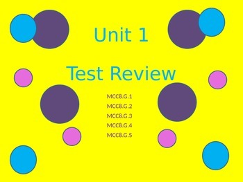 8th Grade Math Unit 1 Review PowerPoint for Geometry Test CCGPS