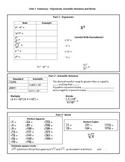8th Grade Math Unit 1 Summary - Exponents, Scientific Nota