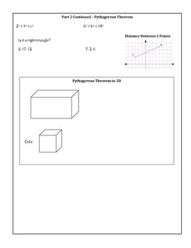 8th Grade Math Unit 2 Summary - Equations, Pythagorean Theorem and Volume