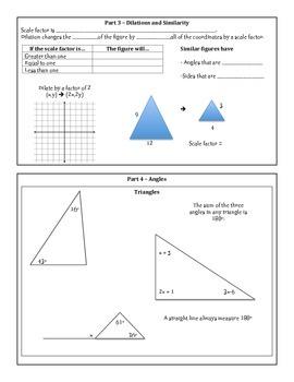 8th Grade Math Unit 6 Summary - Transformations, Congruence and Similarity