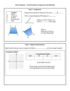 8th Grade Math Unit 6 Summary - Transformations, Congruenc