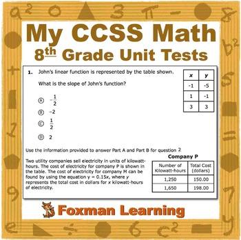 8th Grade Math Unit Tests--Problem Solving-- CCSS Common Core Middle School