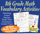 8th Grade Math - Vocabulary Activities