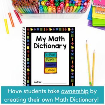8th Grade Math Vocabulary CCSS Aligned ~ My Math Dictionary & PLC Teacher Tools
