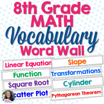 8th Grade Math Vocabulary Cards for Word Wall