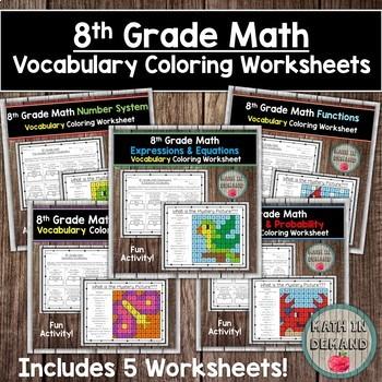 8th Grade Math Vocabulary Coloring Worksheets Bundle