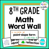 8th Grade Math Word Wall with PICTURES - 194 Words!!