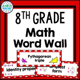 8th Grade Math Word Wall with PICTURES (Red) - 194 Words!!