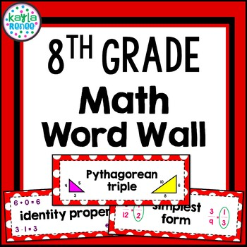 8th Grade Math Word Wall Cards - 192 Words!! (In Red)